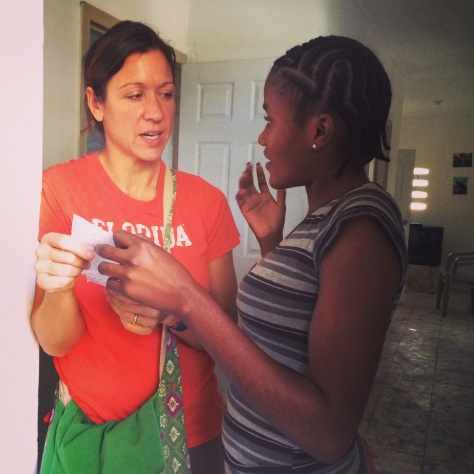 Elissa practices Creole with Youdeline at the students' apartment in Cap Haitien before we head to Oanaminthe
