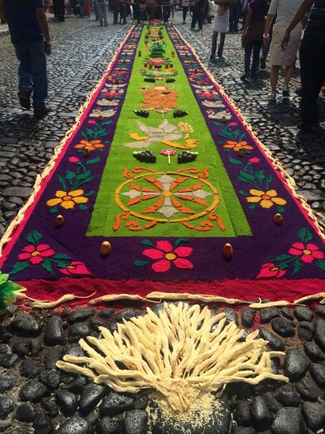 An alfombra, made with stencils, powder, plants - because you were wondering what that is
