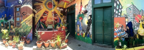 Part of the mission of Cafe R.E.D. is to bring honor to the often misunderstood street artist community. Therefore the interior of the Cafe is a gallery of sorts. This mural, painted in collaboration with jovenes, tells the story of Guatemala's past and their dream for its future.