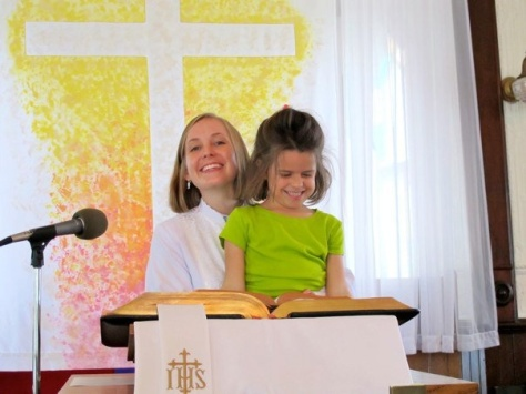 Teaching my niece how to stand in the pulpit.
